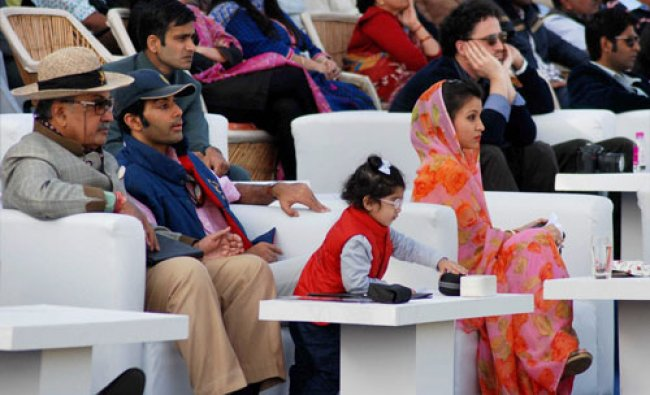 Maharaja Gajsingh along with his family watching a polo match in Jodhpur on Friday. PTI Photo