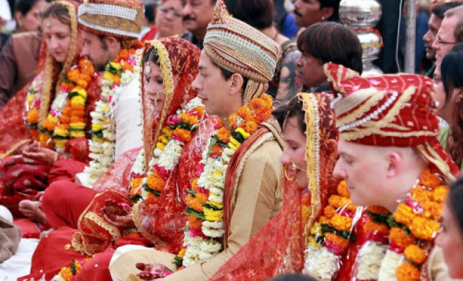 Three European couple get married in Hindu tradition in Indore on Wednesday.