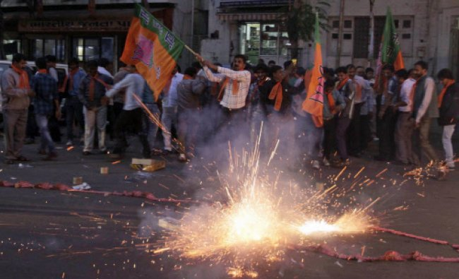Supporters of B J P celebrate after a court rejected a petition seeking the prosecution of...
