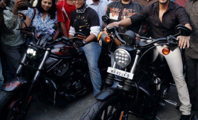 Bollywood actor Shreyas Talpade during the flag off \'Harley Davidson\' bike rally in Mumbai on...