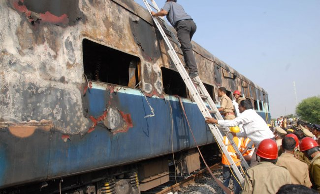 Rescue operations underway as an AC coach of Bangalore-Nanded express caught fire near...