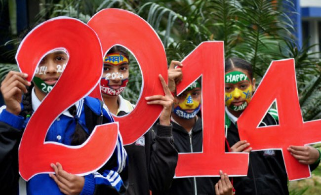 Girls painted their faces as part of their new year\'s celebration on the eve of New Year in...