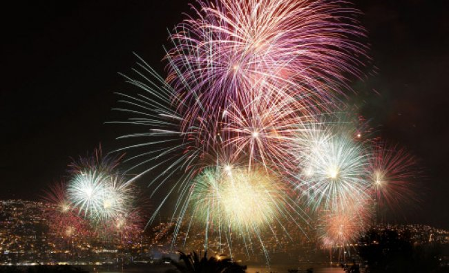 Fireworks explode during a pyrotechnics show to celebrate the New Year in the coastal city...
