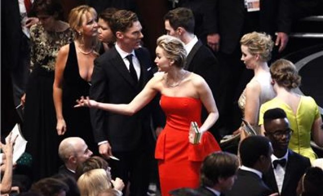 Jennifer Lawrence (C), best supporting actress nominee for...