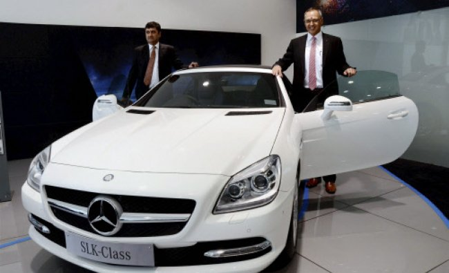 Eberhard Kern, Managing Director and CEO, Mercedes-Benz India (R) with Sanjay Thakkar...