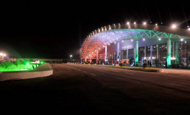 A view of the newly constructed terminal building of Ozar airport which was dedicated...