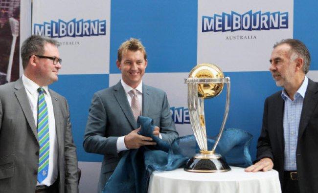 Former Australian speedster Brett Lee(C), Launch a replica of the World Cup 2015 trophy...