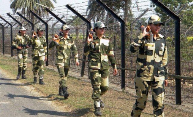 BSF lady constables keep vigil along the India-Bangladesh border near Balurghat...