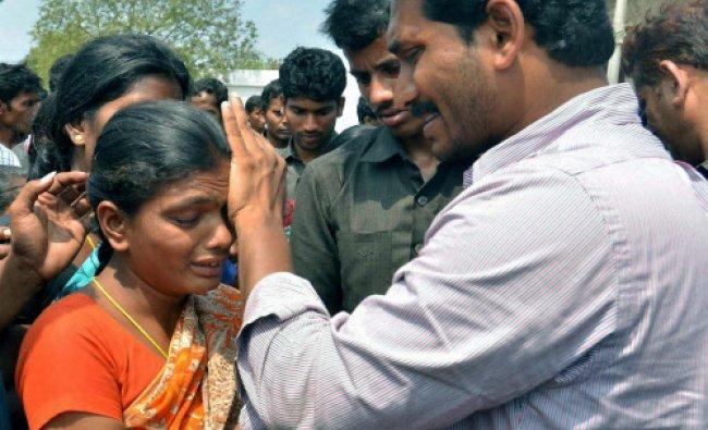 YSR Congress chief Jaganmohan Reddy at a road show in Guntur on Friday...