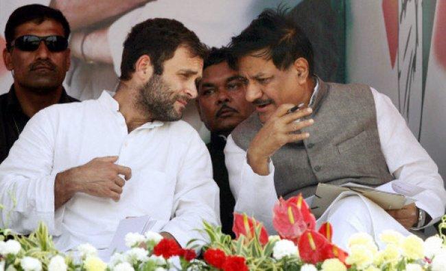 Congress vice president Rahul Gandhi with Maharashtra CM Prithviraj Chavan during a rally...