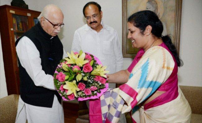 Former UPA minister Daggubati Purandeswari meet senior BJP Leader L K Advani...