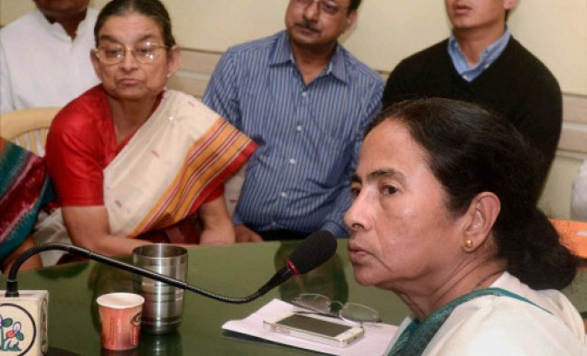 Trinamool Congress supremo & West Bengal chief Minister Mamata Banerjee meeting with party...