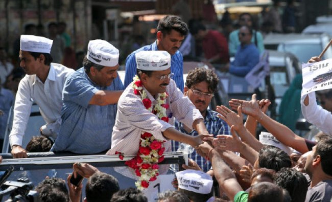 Aam Aadmi Party, or Common Man Party, leader and anti-graft activist Arvind Kejriwal ...