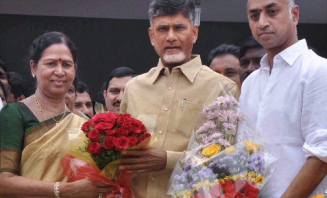 Former Congress Minister G Aruna and her son G. Jayadev join TDP in presence of the party ...