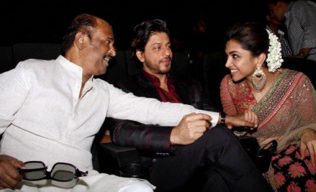 Actors Rajinikanth, Shahrukh Khan and Deepika Padukone at the music release function of...