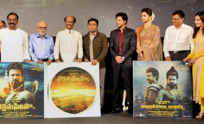 Superstar Rajinikanth at his latest movie Kochadaiiyaan\'s music release function in...