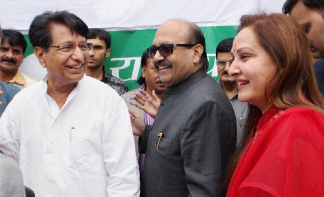 RLD chief Ajit Singh with MPs Jaya Prada and Amar Singh...