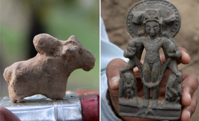 (Combo) Archeologists of Archaeological Survey of India display an idol of Lord Vishnu ...