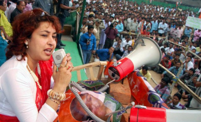 Tollywood actress and TMC candidate Satabdi Roy addresses a public meeting at Tilpara in Birbhum ...