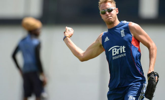England\'s captain Stuart Broad prepares to throw a ball during a training session before...