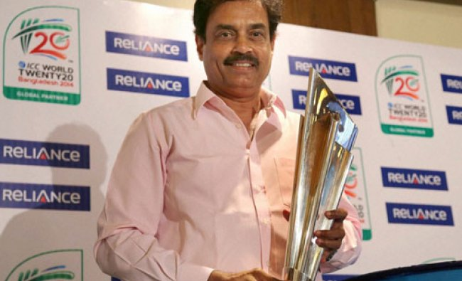 Former cricketer Dilip Vengsarkar during the unveiling T20 World Cup trophy in Mumbai on Friday...