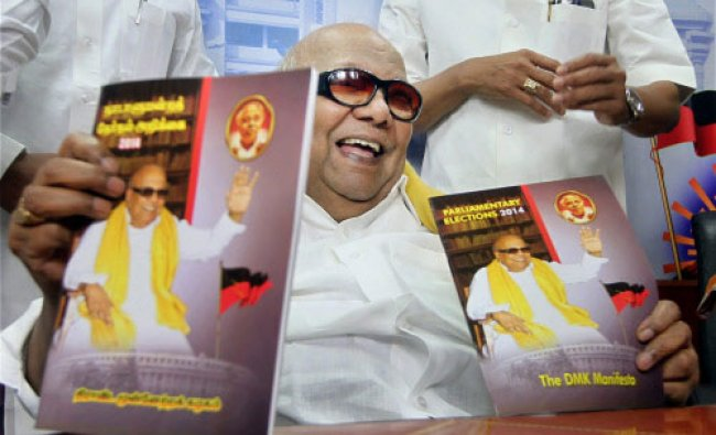 DMK chief M Karunanidhi releases his party\'s Manifesto for upcoming Lok Sabha elections...