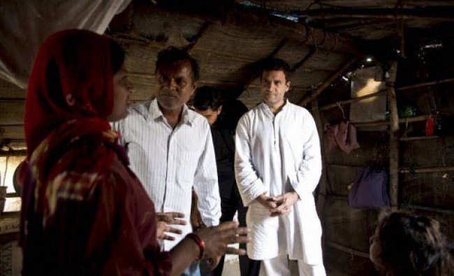 Congress vice-president Rahul Gandhi interacts with salt pan workers at Kharaghoda...