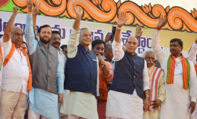 BJP President Rajnath Singh with party leaders Arun Jaitley,Prakash Javadekar and Bandaru...