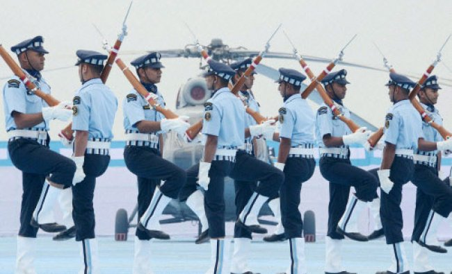 IAF jawans perform during the presentation of President\'s Standard to 112 HU & Colours to...