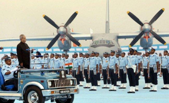 President Pranab Mukherjee inspects guard of honur during the presentation of President\'s...