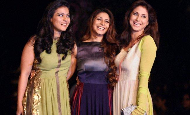 Kajol Tanisha and Urmila Matondkar during on the opening day Lakme Fashion Week 2014 in Mumbai ...