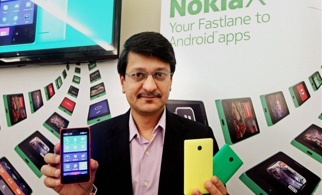 Nokia India Director Viral Oza introducing the new Nokia X series smartphones in Chennai ...