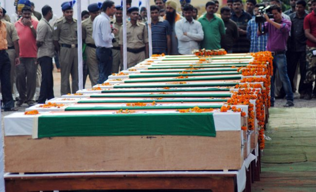 Bodies of CRPF Jawans who were killed in a Naxal attack in Jagadalpur ...