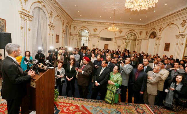 Indian Ambassador to the US S Jaishankar addressing a reception by the Indian consulate New York