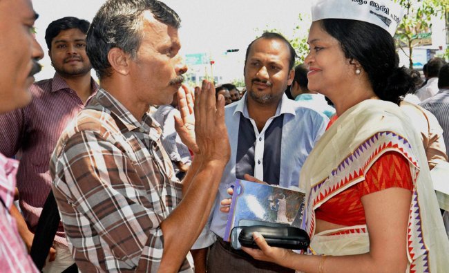 Aam Aadmi Party candidate Anitha Prathap at her election campaign at Kochi ...