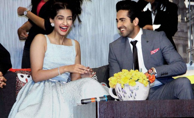 Bollywood actors Sonam Kapoor and Ayushmann Khurrana during the promotion of their upcoming ...