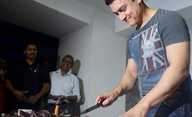 Bollywood actor Aamir Khan celebrates his 49th birthday at his home in Mumbai ...