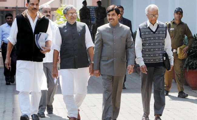 BJP leaders at Election Commission after submitting a memorandum on election issues in Bihar ...