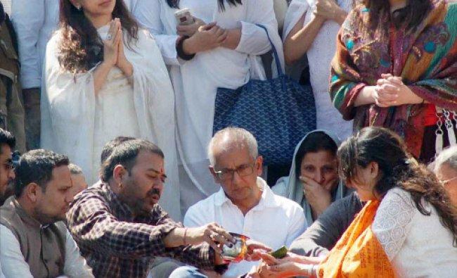 Actress Juhi Chawla during immersion of her brother Sanjiv Chawla\'s ashes at Har ki Paidi ...