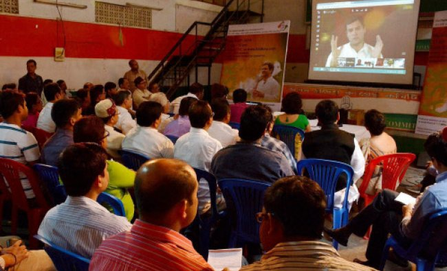 Congress Vice President Rahul Gandhi interacts with party workers through a Google hangout...
