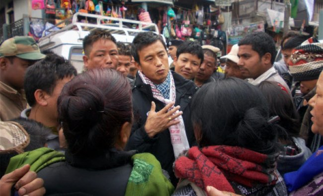 Former footballer and TMC candidate Baichung Bhutia during his election campaigning...