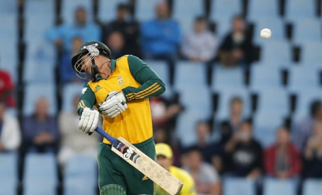 South Africa\'s Quinton de Kock reacts after he was hit by a ball during the final of the T20...