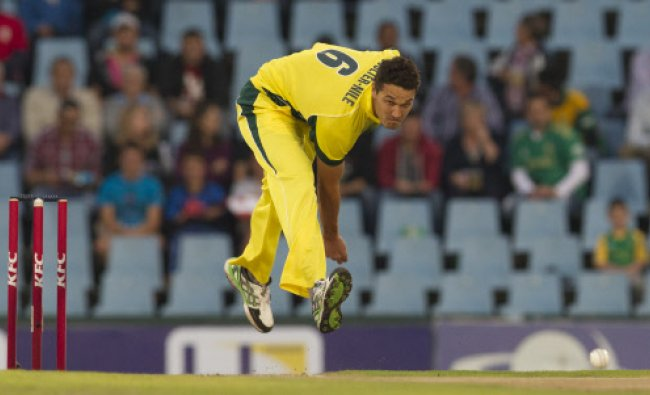 Australia\'s bowler Nathan Coulter-Nile bowls during their T20 Cricket match against South Africa...