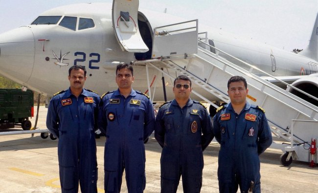 Crew of P-8I maritime surveilance aircraft deployed for search of the missing Malaysian airline ...