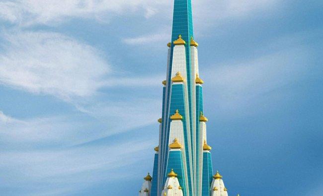 Artist\'s impression of a proposed 70-storey skyscraper temple of Krishna in Vrindavan, UP...