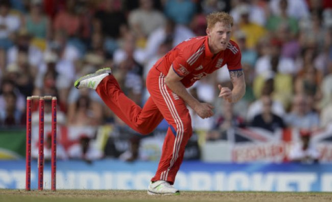 England\'s Ben Stokes bowls during the first T20 international against the West Indies\' at...