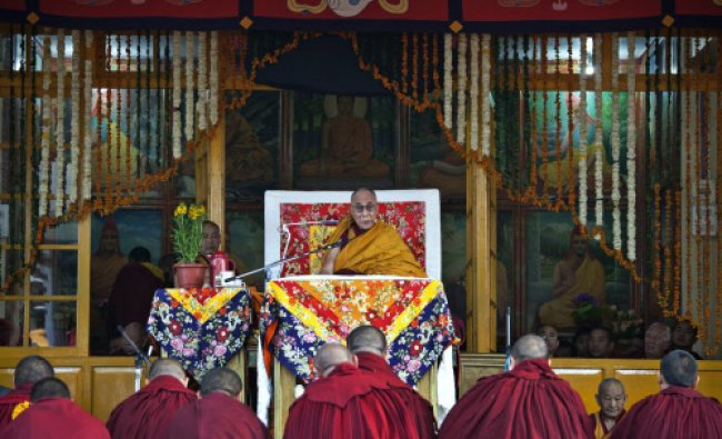 Tibetan spiritual leader the Dalai Lama gives a religious talk at the Tsuglakhang temple...