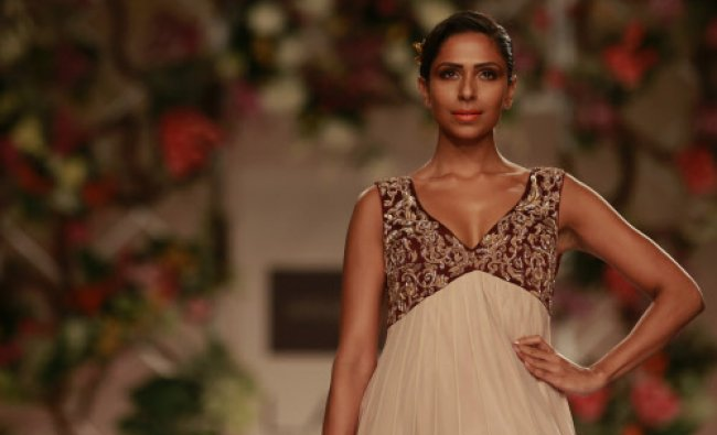 A model displays a creation by designer Shyamal and Bhumika during the Lakme Fashion Week...