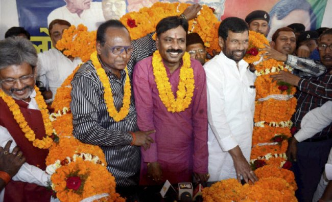 LJP chief Ram Vilas Paswan welcomes various leaders who joined the party in Patna...