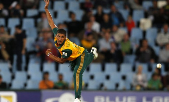 South Africa\'s Beuran Hendricks makes a delivery during the final of the T20 cricket match...
